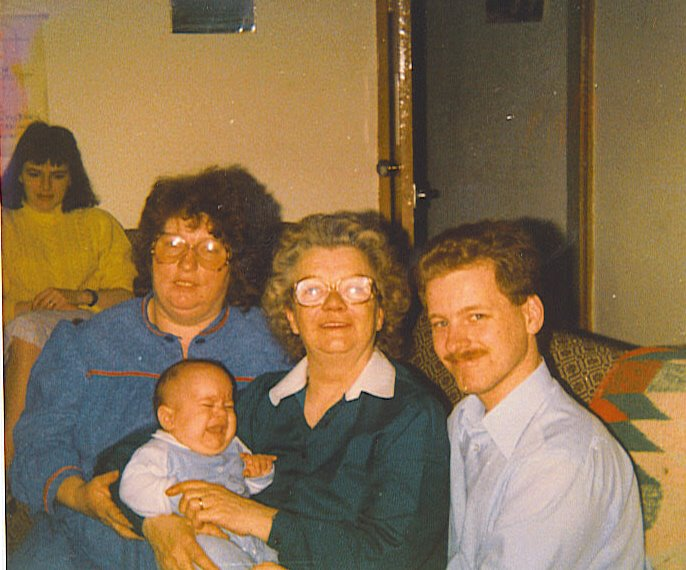 From left to right, Mum, Nanny, me, Great Grandma (dads side), Dad.